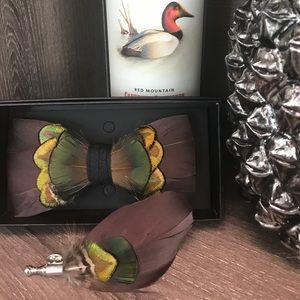 Other - Luxury Feather Bowtie Collection with Brooch